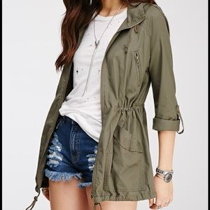 Green Hooded Utility Jacket